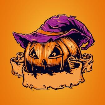 Illustrazione spooky pumpkin face halloween con nastro