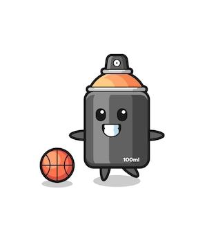 L'illustrazione del fumetto della vernice spray sta giocando a basket, un design in stile carino per maglietta, adesivo, elemento logo Vettore Premium