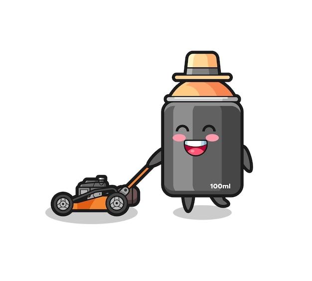Illustrazione del personaggio della vernice spray con tosaerba, design in stile carino per maglietta, adesivo, elemento logo