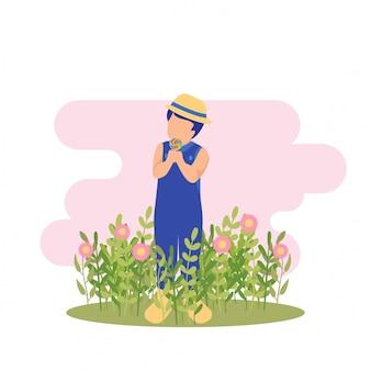 Illustrazione primavera ragazzo carino ragazzo giocando fiore e mangiare caramelle alla festa in giardino