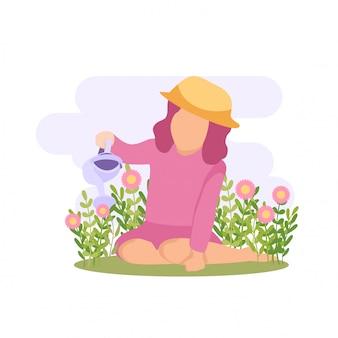 Illustrazione primavera ragazza carina bambino giocando fiore e farfalla alla festa in giardino