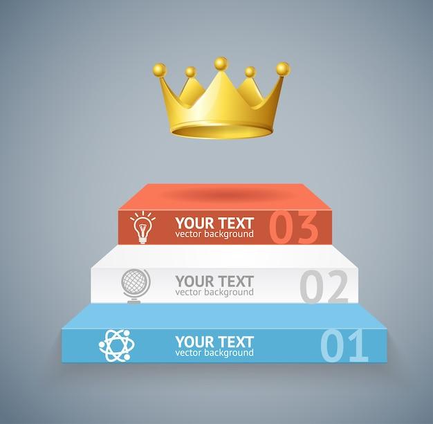 Illustrazione scale e corona isolato su sfondo grigio opzione banner