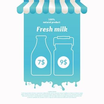 Illustrazione di una bancarella per prodotti lattiero-caseari di commercio di strada. sfondo per la pubblicità del latte. poster per il negozio o il sito web