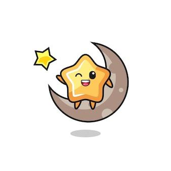 Illustrazione del cartone animato stella seduto sulla mezza luna, design in stile carino per maglietta, adesivo, elemento logo