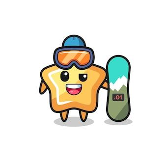 Illustrazione del personaggio di una stella con stile snowboard, design in stile carino per t-shirt, adesivo, elemento logo