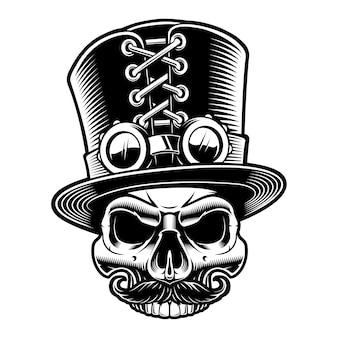 Illustrazione di un teschio steampunk in cappello a cilindro