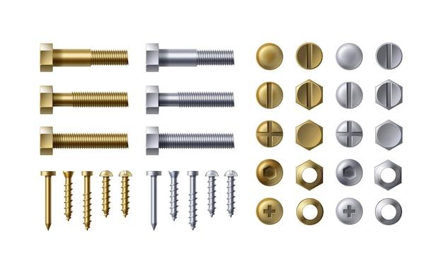 Illustrazione di bulloni in acciaio e ottone, chiodi e viti su sfondo bianco. tipi di teste con dadi e rondelle, vista dall'alto.