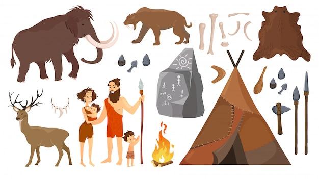 Illustrazione di persone dell'età della pietra con elementi per la vita, strumenti di caccia.