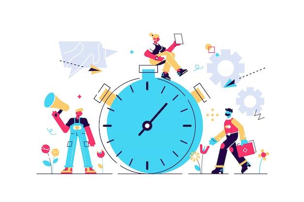 Illustrazione, cronometro su sfondo bianco, servizi espressi, concetto di gestione del tempo, reazione veloce. illustrazione di stile moderno design piatto per pagina web, carte, poster, social media.