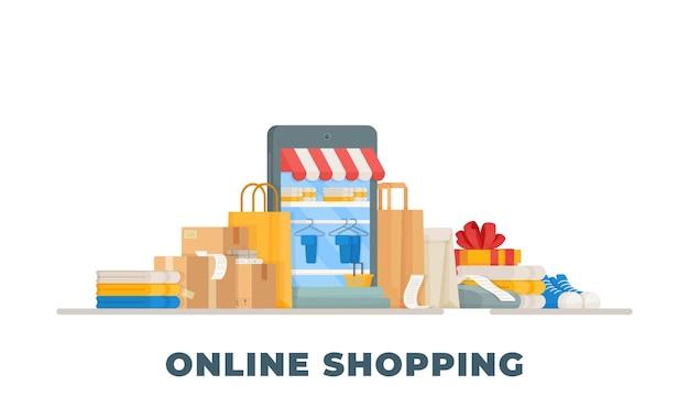 Illustrazione del sito web del negozio. shopping, merce, pagamento, denaro, shopping.