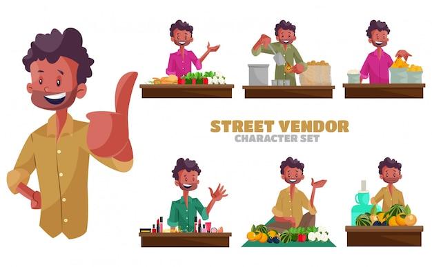 Illustrazione del set di caratteri venditore ambulante