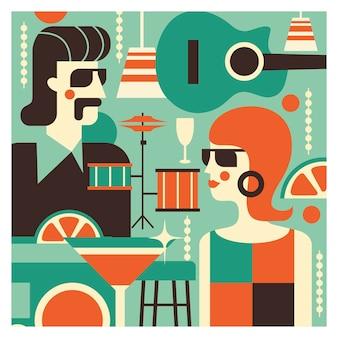 Illustrazione nello stile degli anni '70. festa retrò.