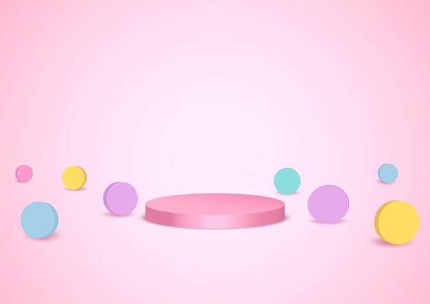 Stile dell'illustrazione del cerchio pastello con il supporto del podio su fondo rosa.