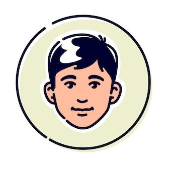 Illustrazione di un giovane alla moda. avatar di un uomo per profilo.