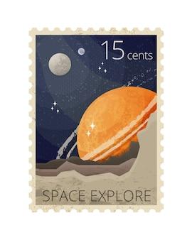 Illustrazione del francobollo spazio retrò stilizzazione