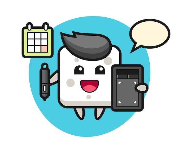 Illustrazione della mascotte zolletta di zucchero come un er grafico, design in stile carino per t-shirt, adesivo, elemento logo