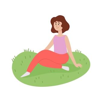Illustrazione del fine settimana all'aperto picnic estivo con donna seduta sull'erba, giovane donna alla moda, rilassarsi all'aperto in stile cartone animato