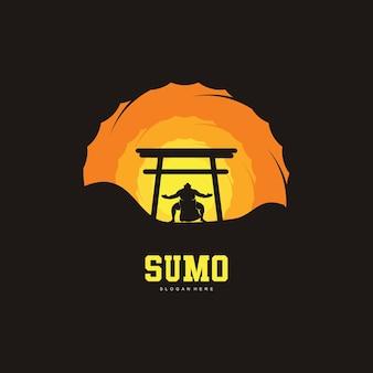 Illustrazione del design del logo di lotta di sumo, silhouette di lotta di sumo