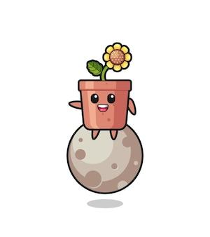 Illustrazione del fumetto del vaso di girasole seduto sulla luna, design in stile carino per maglietta, adesivo, elemento logo