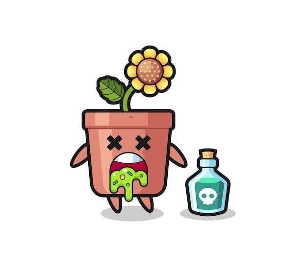 Illustrazione di un personaggio di un vaso di girasole che vomita a causa di avvelenamento, design in stile carino per maglietta, adesivo, elemento logo