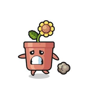 Illustrazione del vaso di girasole che corre nella paura, design in stile carino per maglietta, adesivo, elemento logo