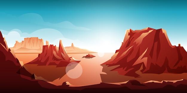 Illustrazione alba scogliera di montagna nel deserto