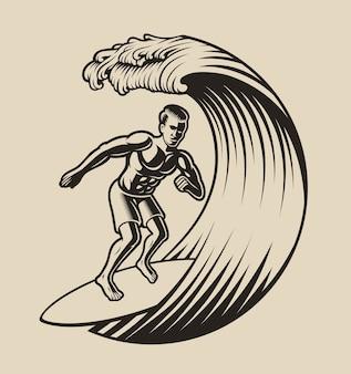 Illustrazione di un surfista su uno sfondo bianco.