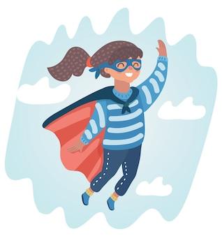 Illustrazione della dolce bambina in un costume da super eroe volare nel cielo.