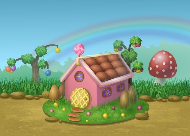 Illustrazione della casa dolce di biscotti e caramelle su uno sfondo di prati, funghi, alberi di caramelle e arcobaleno