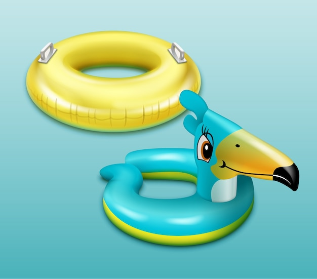 Illustrazione di anelli da bagno per bambini con maniglie e con testa di uccello