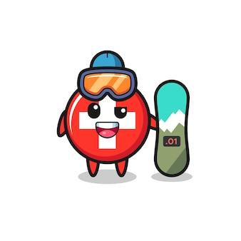 Illustrazione del carattere distintivo della bandiera svizzera con stile snowboard, design in stile carino per t-shirt, adesivo, elemento logo