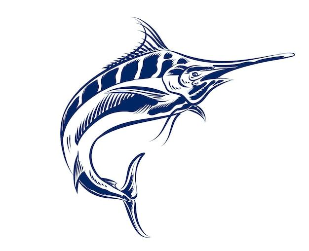Illustrazione del pesce spada per logo e elemento di branding monocromatico