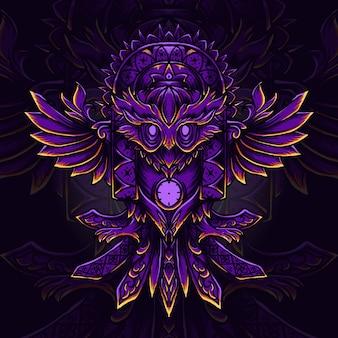 Illustrazione e t-shirt design abstract ow incisione ornamento