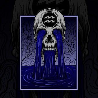 Illustrazione e design t-shirt zodiaco teschio acquario