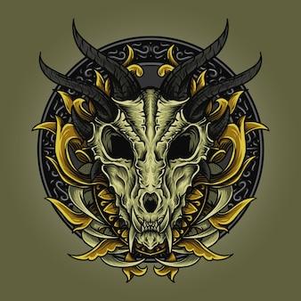 Illustrazione e disegno della maglietta ornamento del cranio del drago incisione