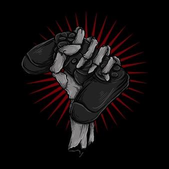 Illustrazione e t-shirt design mano scheletro con gioco per controller