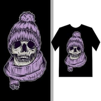 Illustrazione e design t-shirt teschio con sciarpa e cappello invernale