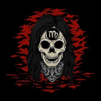 Illustrazione e t-shirt design zodiaco teschio virgo