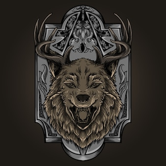 Illustrazione e design t-shirt ornamento lupo corno di cervo incisione