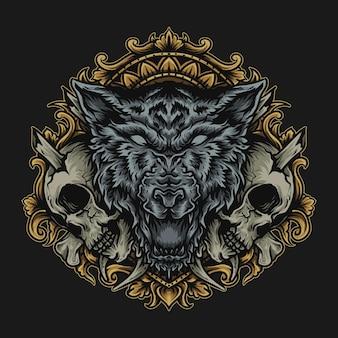Illustrazione e t-shirt design lupo e ornamento incisione teschio