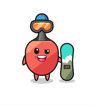 Illustrazione del personaggio della racchetta da ping pong con stile snowboard, design in stile carino per t-shirt, adesivo, elemento logo
