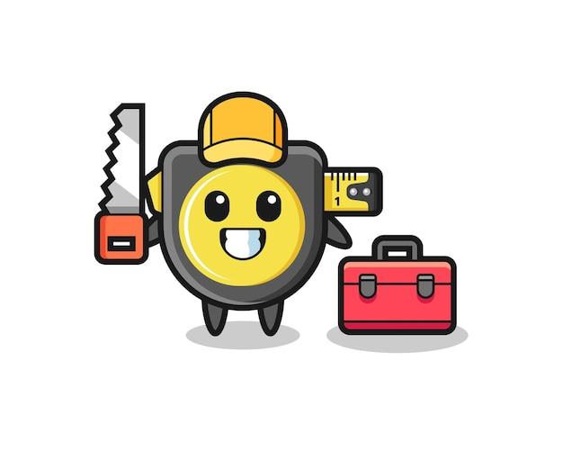 Illustrazione del personaggio del metro a nastro come un falegname, design carino