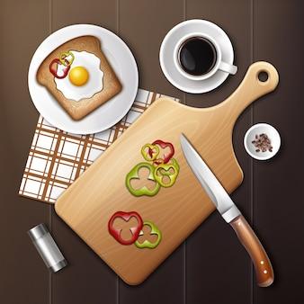 Illustrazione del gustoso panino con uovo e peperone tritato per colazione sul tavolo di legno