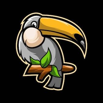 Illustrazione del grafico della mascotte di e-sport di taucans