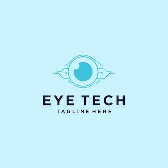 Tecnologia dell'illustrazione modello di progettazione del logo del concetto digitale dell'occhio creativo moderno