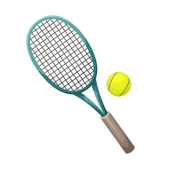 Illustrazione di una racchetta da tennis con una palla.