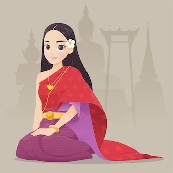 Donne tailandesi dell'illustrazione in vestito tradizionale tailandese, costume asiatico sudorientale tradizionale, fumetto