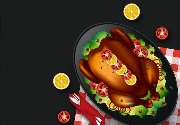 Illustrazione della cena del ringraziamento. vista dall'alto