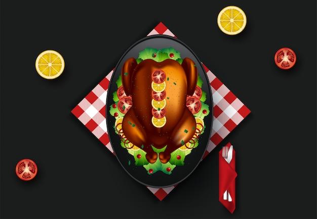 Illustrazione della cena del ringraziamento. vista dall'alto Vettore Premium