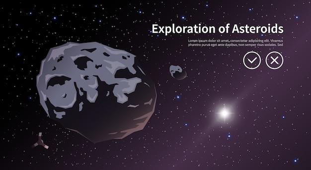 Illustrazione sul tema: astronomia, volo spaziale, esplorazione dello spazio, colonizzazione, tecnologia spaziale. il banner web. asteroids